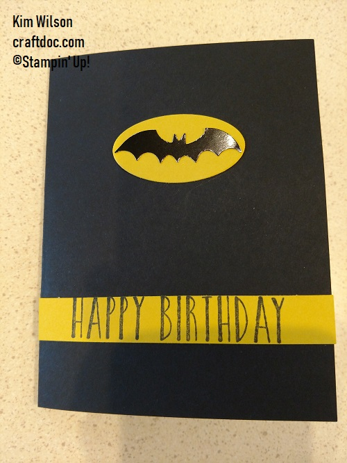 Stampin' Up, Birthday card, bat punch,batman card